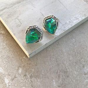 Green opal stud earrings